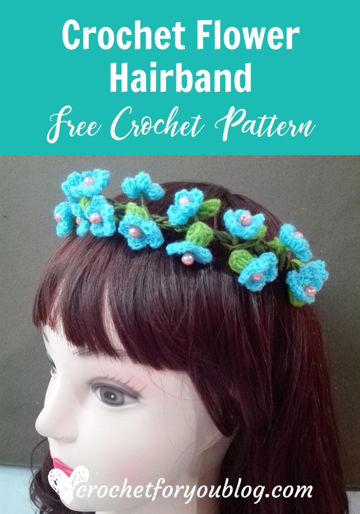 Crochet Flower Hairband - free crochet pattern