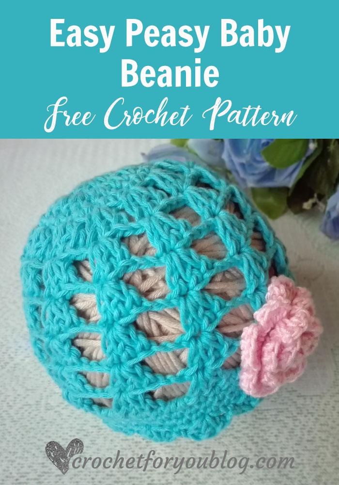 Easy Peasy Baby Beanie - free crochet pattern