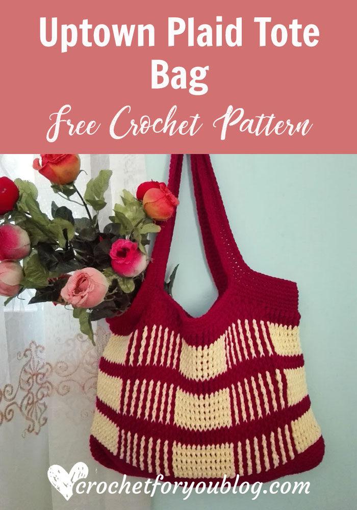 Uptown Plaid Tote Bag - free crochet pattern