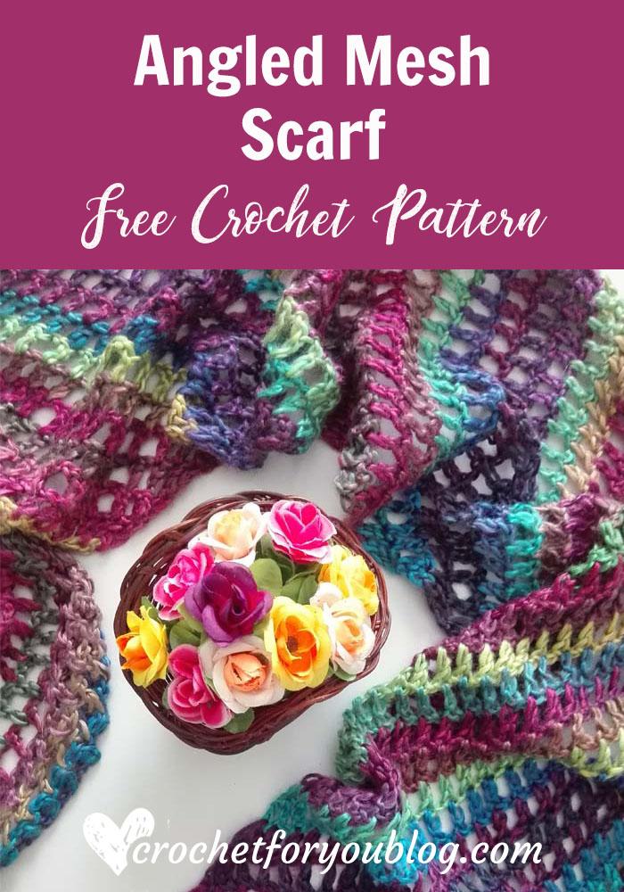 Angled Mesh Scarf - free crochet pattern