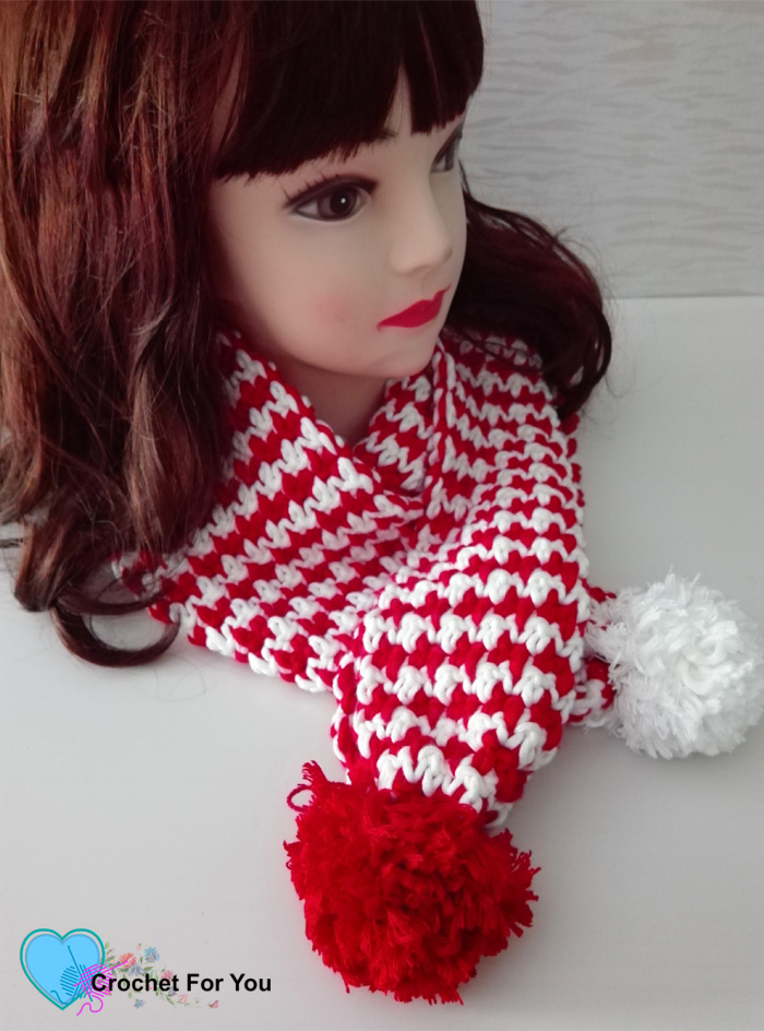 Peppermint Houndstooth Scarf Free Pattern
