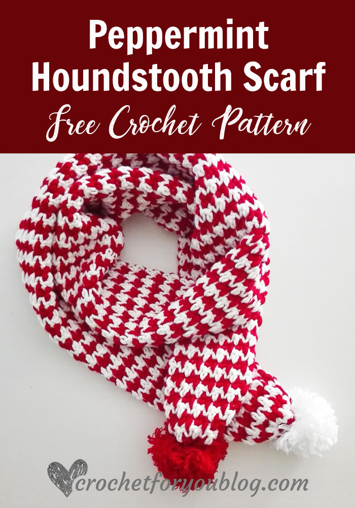 Peppermint Houndstooth Scarf - free crochet pattern
