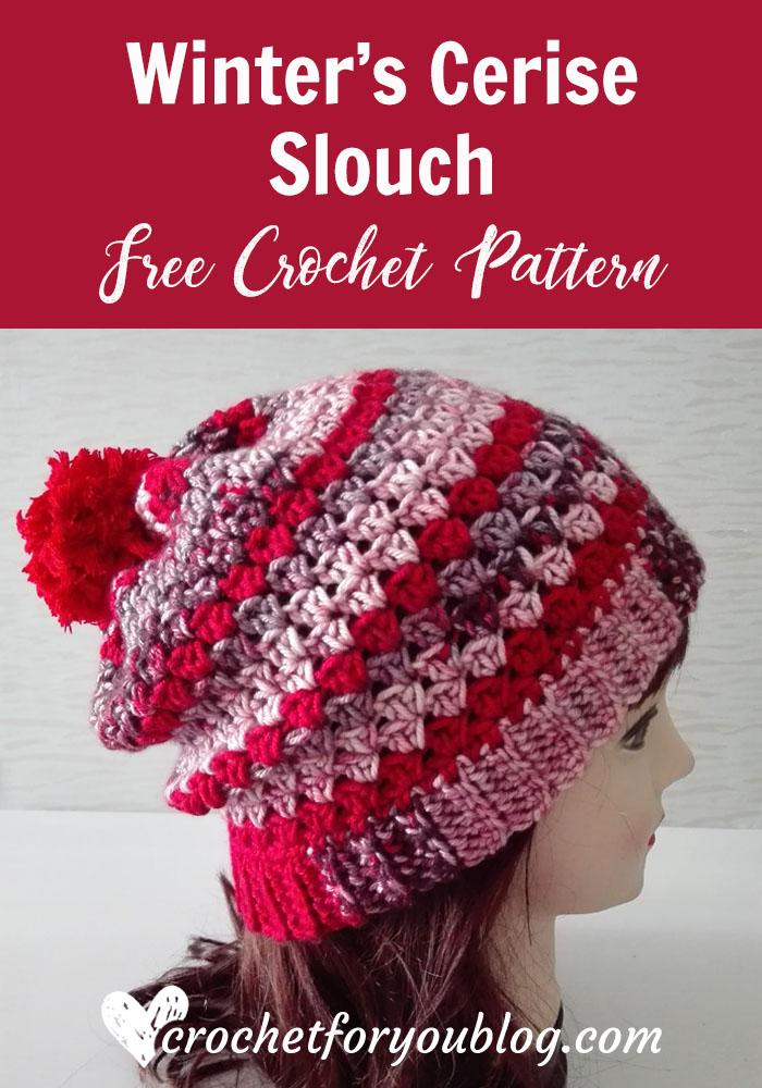 Winter's Cerise Crochet Slouch - free crochet pattern