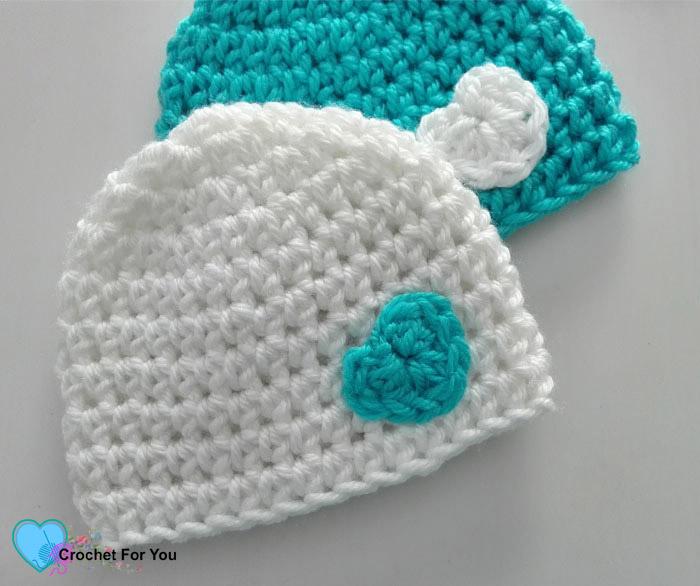 Little Heart Crochet Preemie Hat Free Pattern