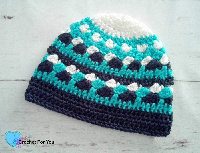 Ocean Shades Beanie (2-5 yrs) Free Crochet Pattern