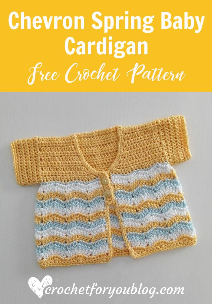 Crochet Chevron Spring Baby Cardigan - free pattern