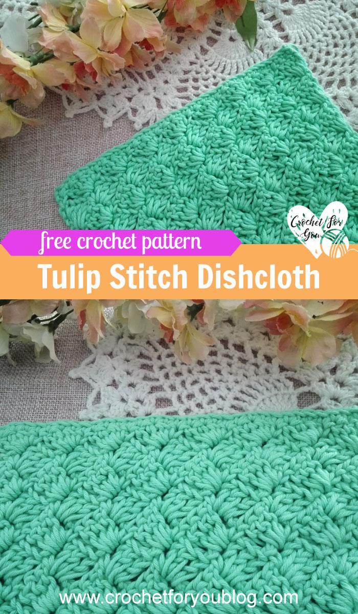 Crochet Tulip Stitch Dishcloth - free pattern
