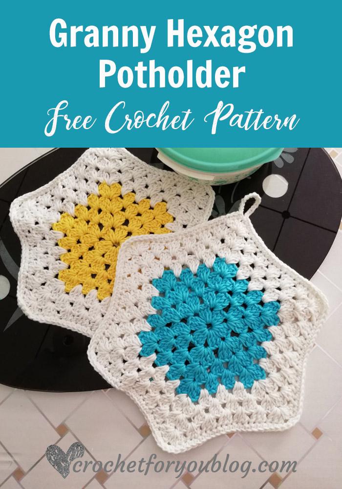 Crochet Granny Hexagon Potholder - free pattern