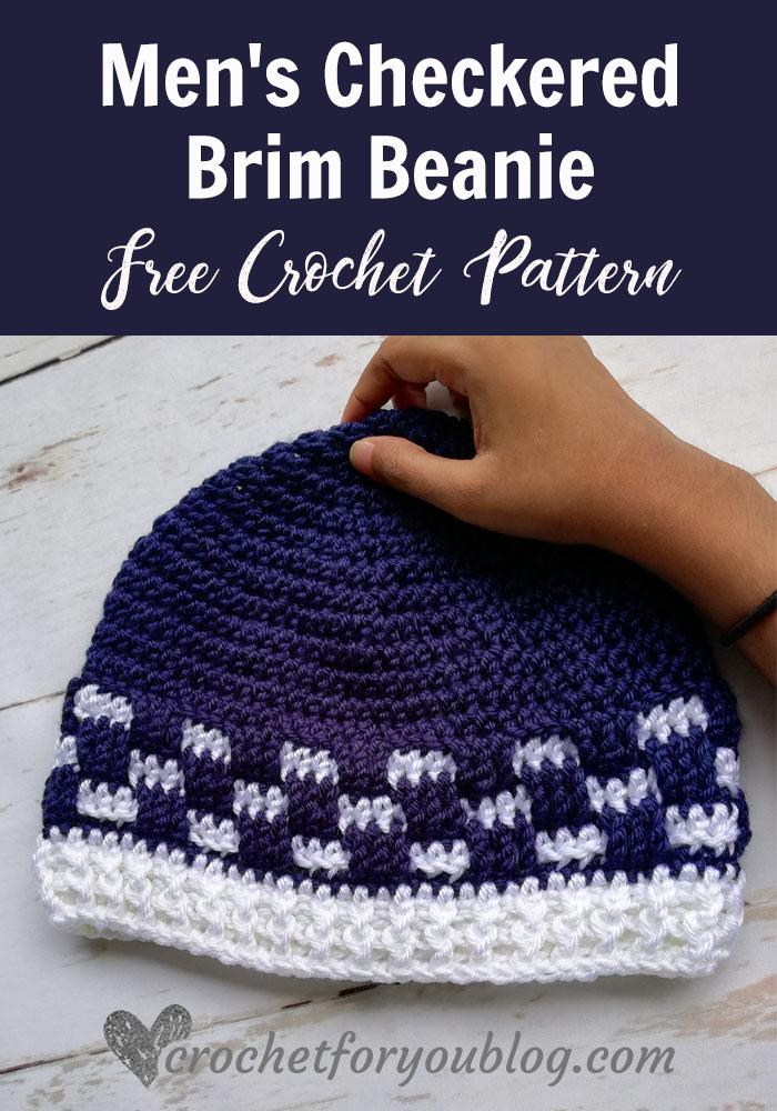Men's Checkered Brim Beanie - free crochet pattern