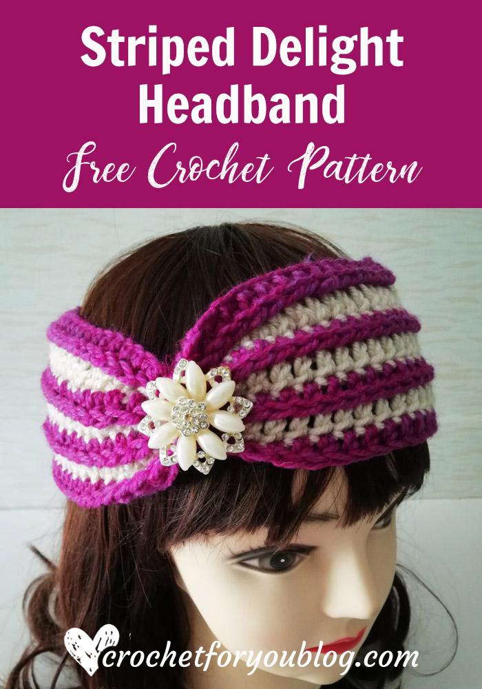 Crochet Striped Delight Headband Free Pattern