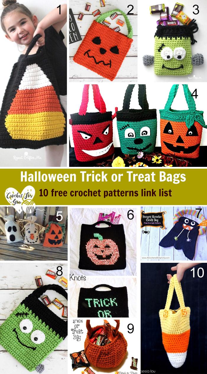 Halloween Trick or Treat Bags - 10 free crochet patterns link list
