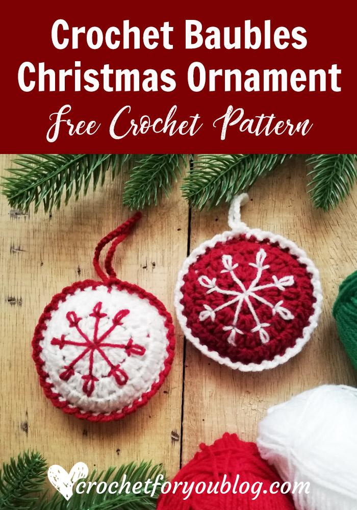 Crochet Baubles Christmas Ornament Free Pattern
