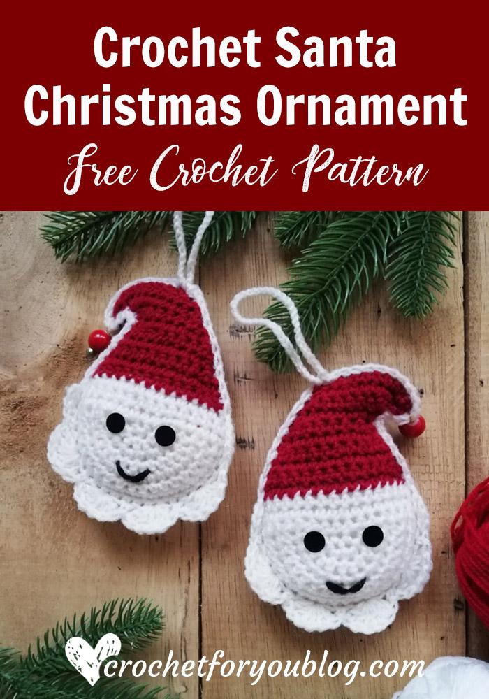 Crochet Santa Christmas Ornament Free Pattern