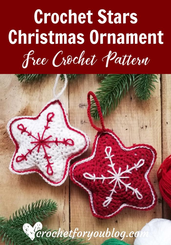 Crochet Stars Christmas Ornament Free Pattern