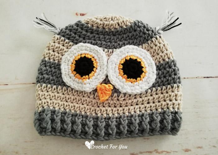 Crochet Woodland Owl Hat Free Pattern