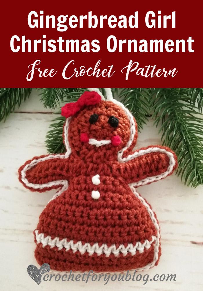 Crochet Gingerbread Girl Christmas Ornament Free Pattern