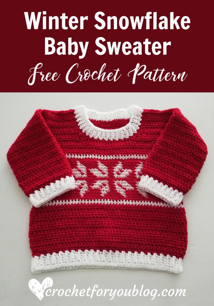 Crochet Winter Snowflake Baby Sweater - free pattern