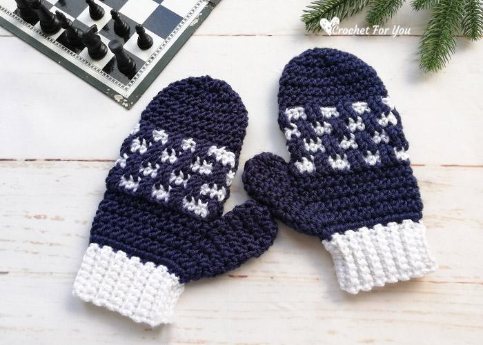 Crochet Checkered Mittens Free Pattern
