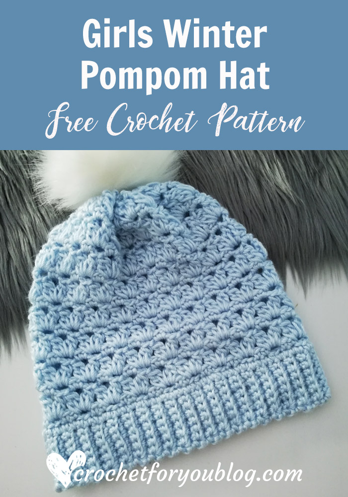 Girls Winter Pompom Hat Free Crochet Pattern