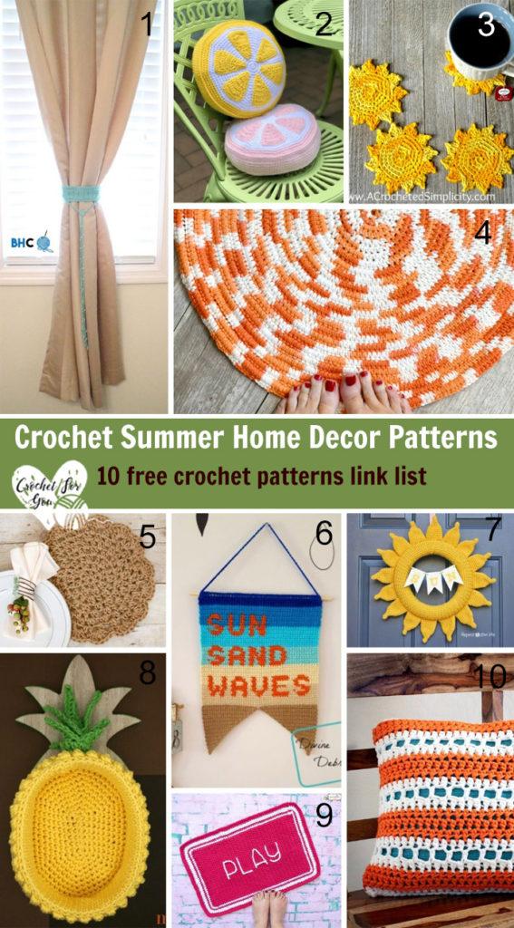 Crochet Summer Home Decor Patterns – 10 free crochet pattern link list