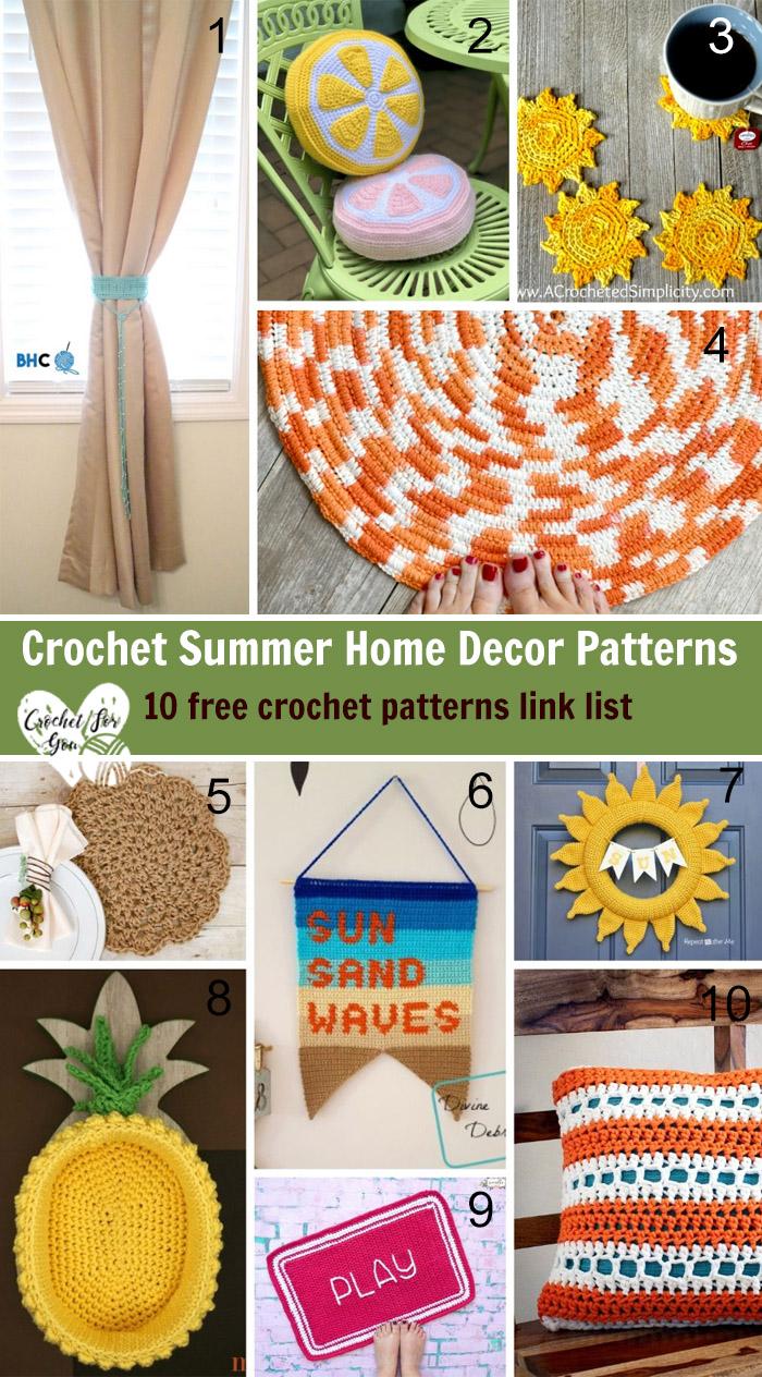 Crochet Summer Home Decor Patterns-10 free crochet pattern link list