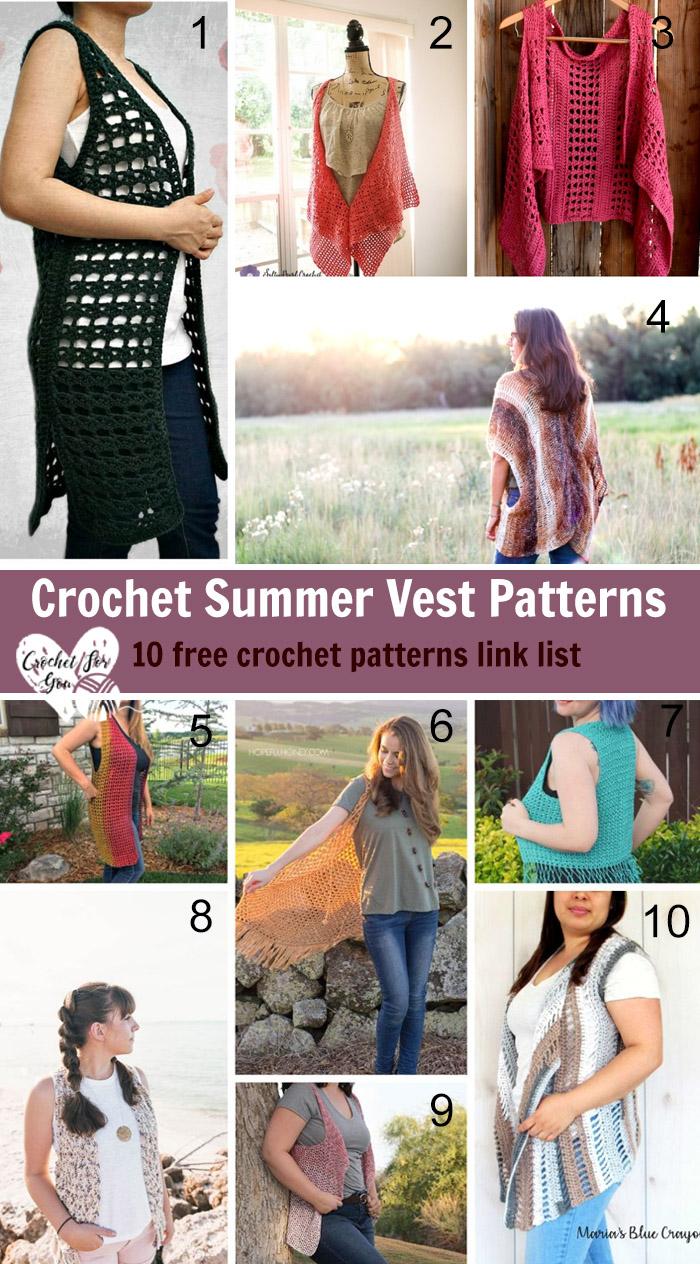 Crochet Summer Vest Patterns - 10 free crochet pattern link list