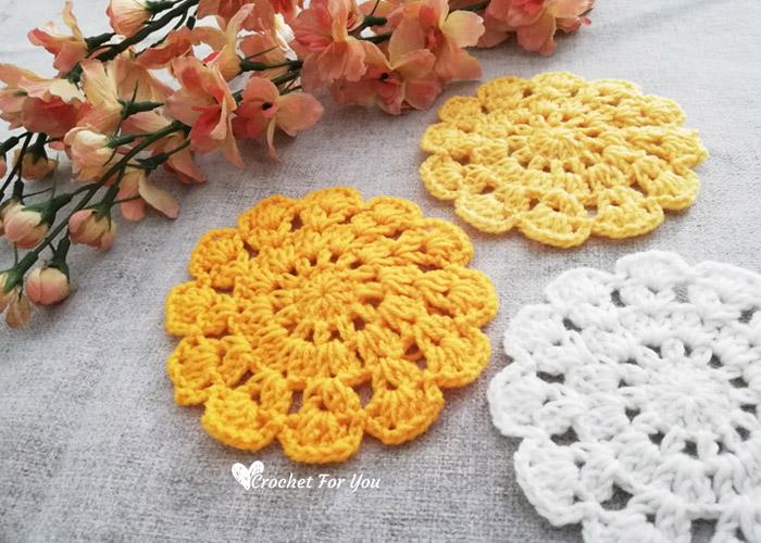 Marigold Crochet Lace Coasters Free Pattern