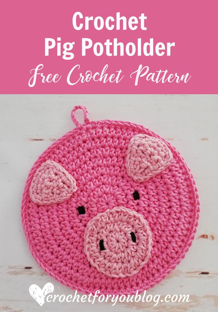 Crochet Pig Potholder Free Pattern