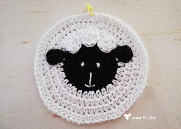 Crochet Sheep Potholder Free Pattern