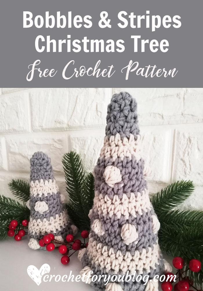 Crochet Bobbles & Stripes Christmas Tree Free Pattern