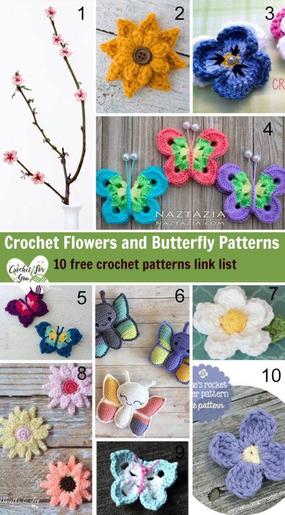 Crochet Flowers and Butterfly Patterns