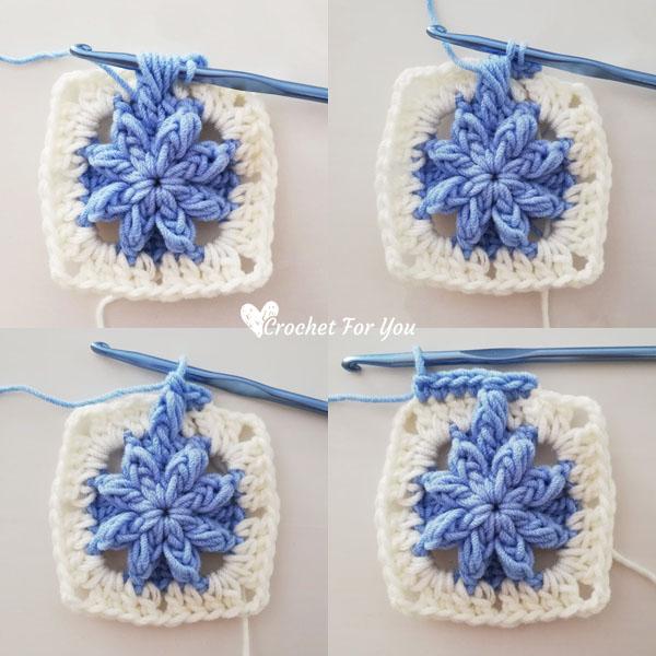 Crochet Bobble Drops Flower Granny Square Free Pattern