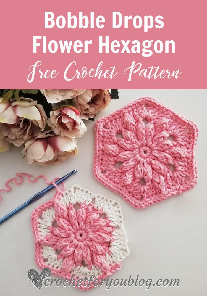 Crochet Bobble Drops Flower Hexagon