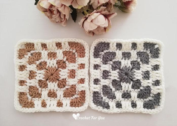 Crochet Checkerboard Granny Square Free Pattern