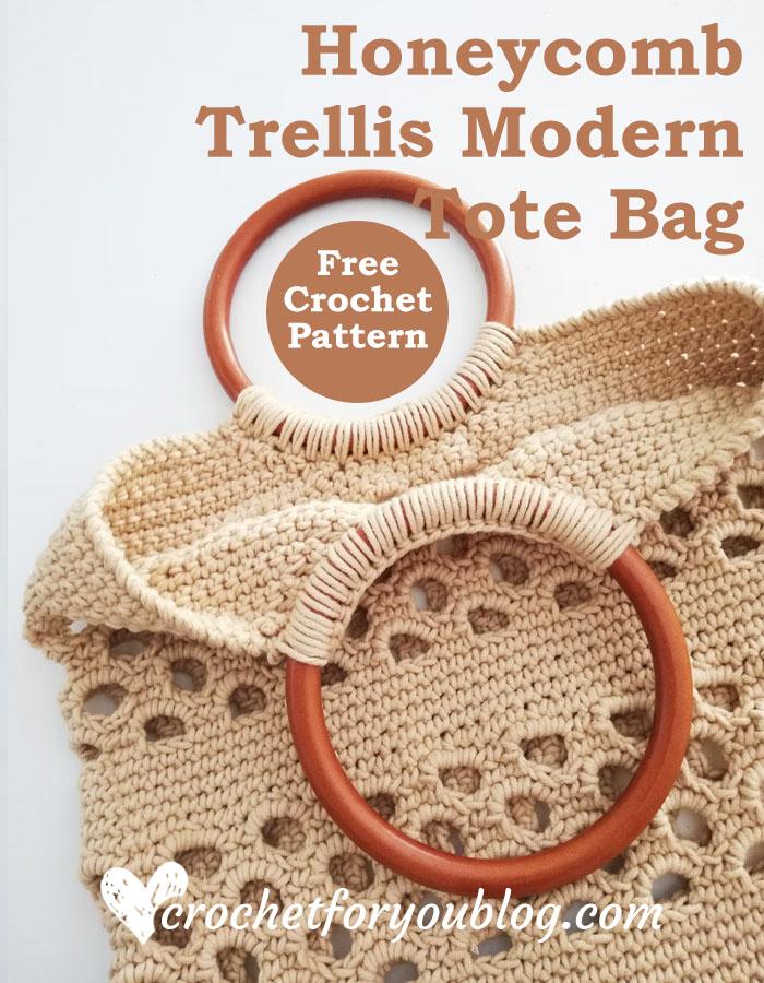 Crochet Honeycomb Trellis Modern Tote Bag