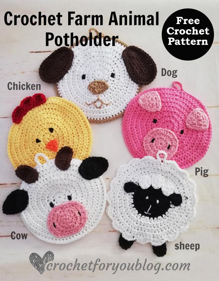 Crochet Farm Animal Potholders