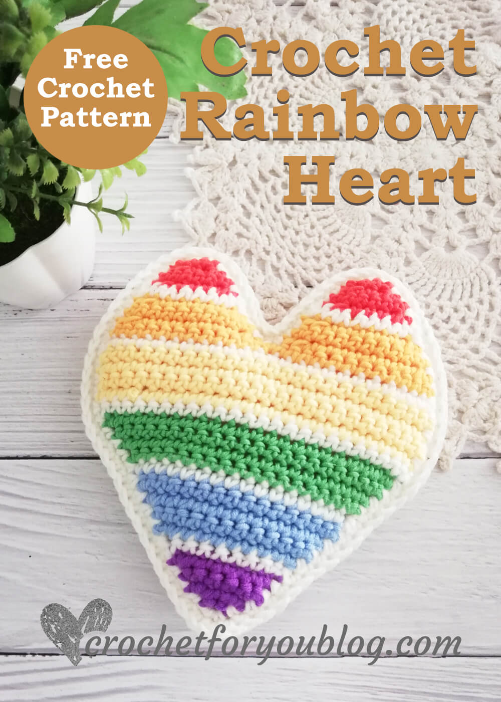 Crochet Rainbow Heart Free Pattern
