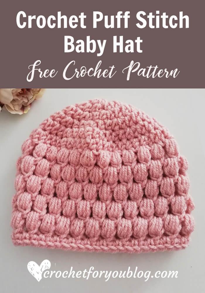 Crochet Puff Stitch Baby Hat Free Pattern