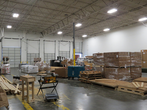 Warehouse with crates and boxes