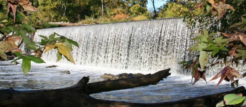 photo of Glencoe Dam with river rushing over dam and a log and fall color leaves in the foreground