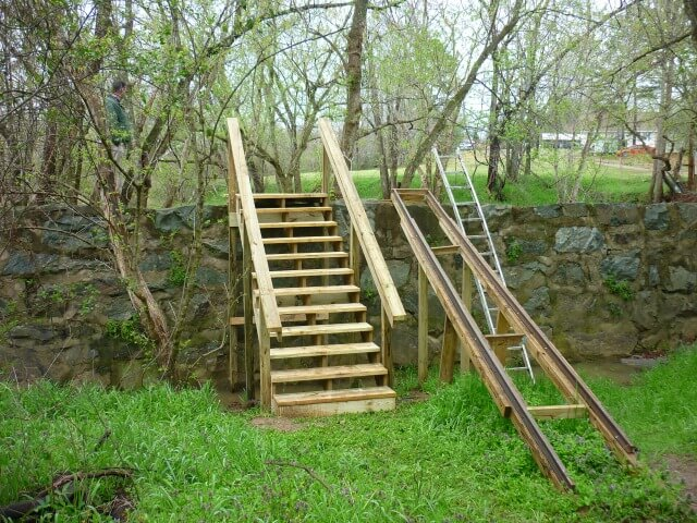 photo of the stairs on a stone wall for the portage at Puryear Dam