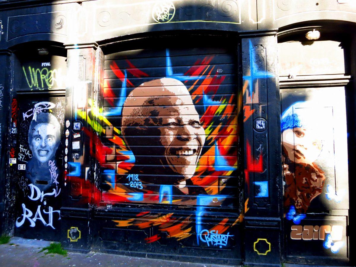 street art amsterdam nelson mandela spuistraat