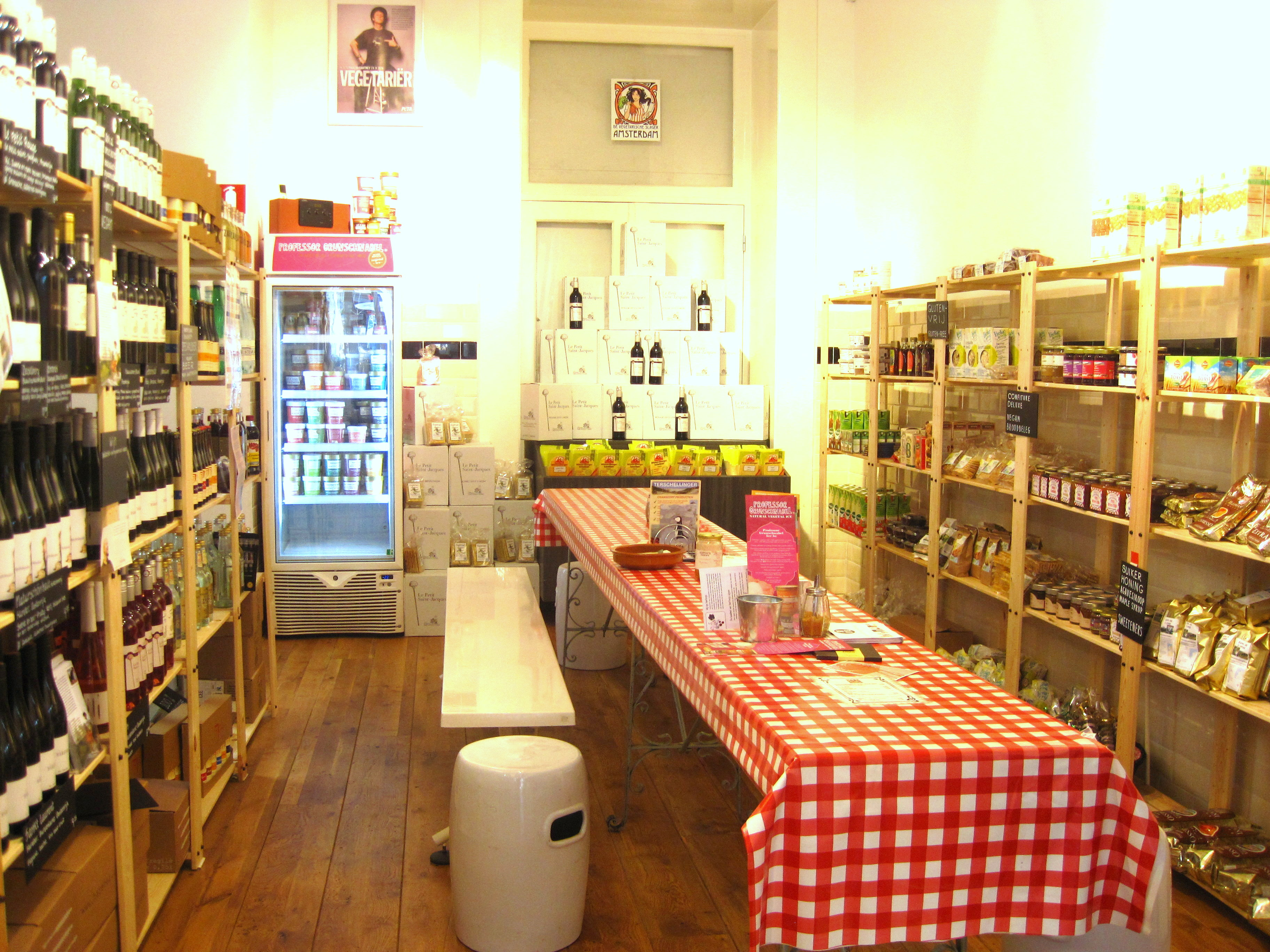 """De Vegetarische Traiteur Amsterdam carries all types of """"fake meat"""" products that can make vegetarian dining a bit more diverse as well as a range of other healthy foods and condiments."""