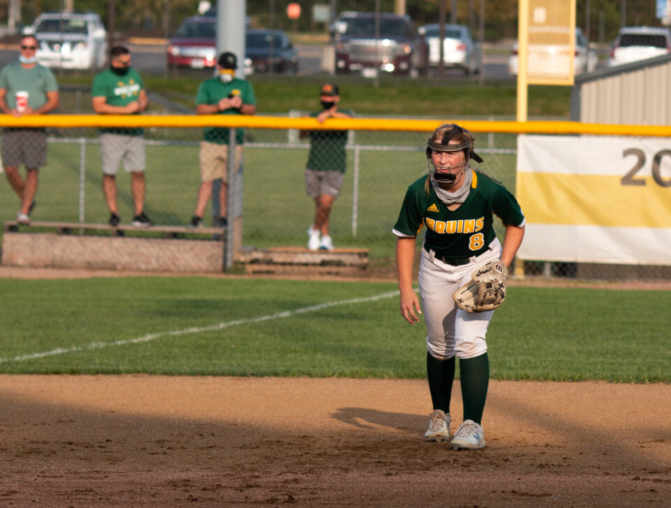 Cydney Fullerton (9) gets ready for a ball to come her way. Every player knew their job when they were out on the field. The Bruins won their game on Sept. 14 against Capital City 2-0. Photo by Emma Hake.