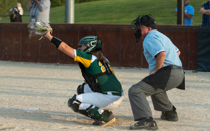 Sophomore catcher Abby Hay receives the ball Wednesday, Sept. 23. Photo by Ana Manzano.