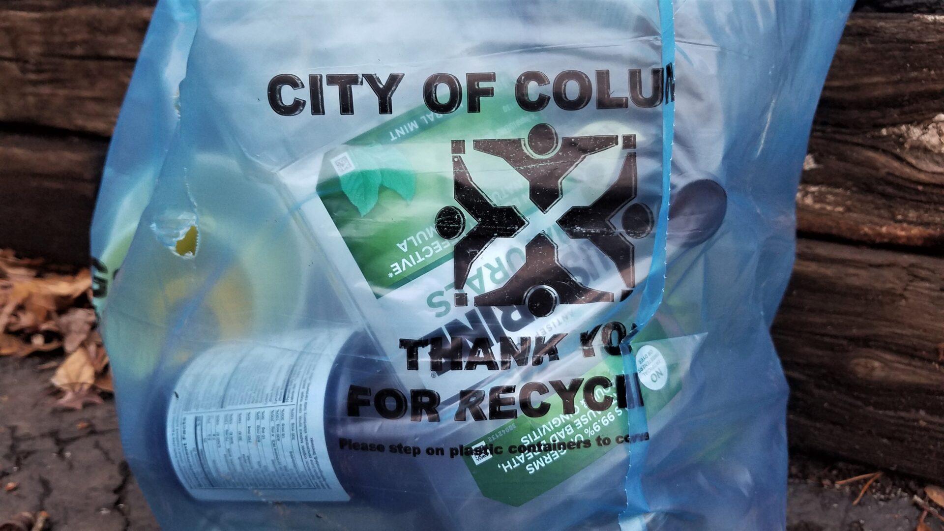 Blue recycling bag. Photo by Audrey Novinger