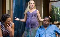 "Karen Aldridge (left) with Stephanie Childers and James Vincent Meredith in ""Clybourne Park."" ( Photo by Michael Brosilow)"