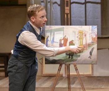 "Dan Waller as miner-turned-artist in ""The Pitmen Painters"" at TimeLine Theatre (Lara Goetsch)"