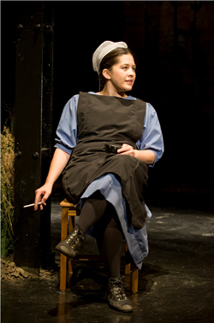 "Sadieh Rifai as one of seven characters in ""The Amish Project' photo by Michael Brosilow"