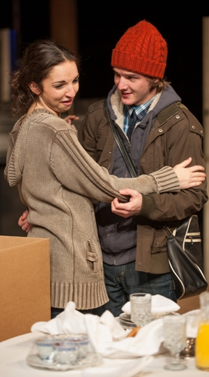 Laura Rook as Kyra and Matt Farabee as Edward recall the past in Skylight by David Hare directed by William Brown at Court Theatre 2013 credit Michael Brosilow